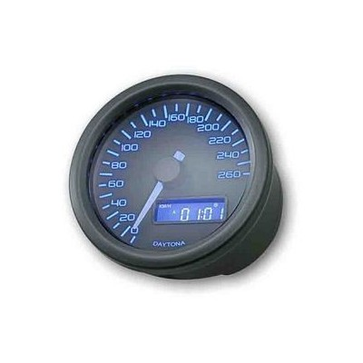 Contachilometri Elettronico Daytona Velona 60mm Dark Luce Blu 260Km/h