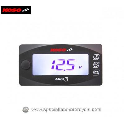 Koso Misuratore di Temperatura Orologio e Voltometro Digitale Mini 3