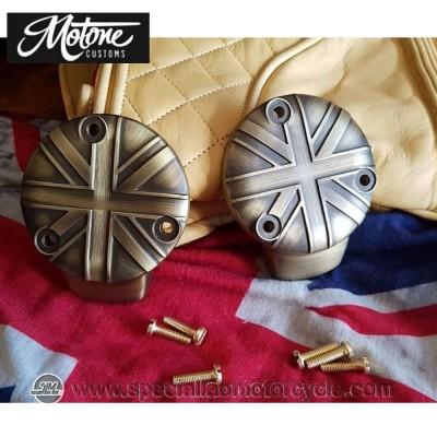 Motone Custom Union Jack Cover Carburatori Triumph Ottone