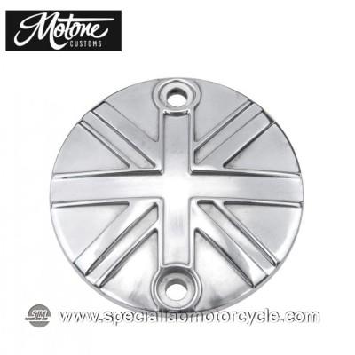 Motone Custom Cover Points Union Jack Triumph Chrome