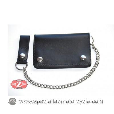 Portafoglio con Catena Biker Style in Pelle Nero 10x15cm