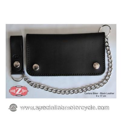 Portafoglio con Catena Biker Style in Pelle Nera 9x17cm