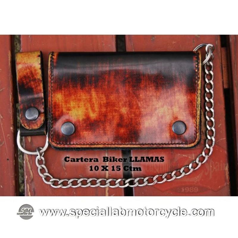 Portafoglio con Catena Biker Style Fire in Pelle Nera 10x15cm