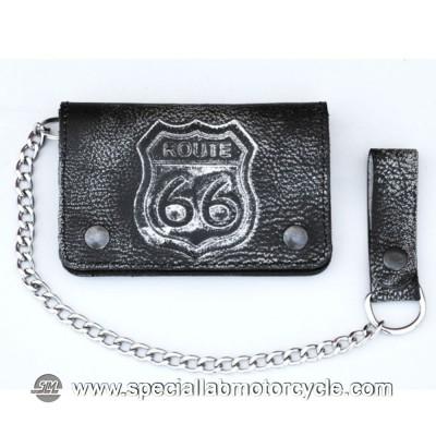 Portafoglio con Catena Biker Vintage Style Rote 66 in Pelle Nera 10x15cm