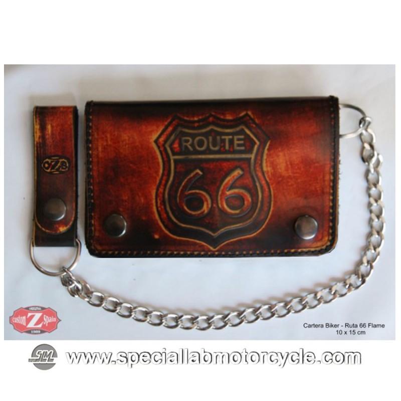 Portafoglio con Catena Biker Vintage Style Rote 66 in Pelle Marrone 9x17cm