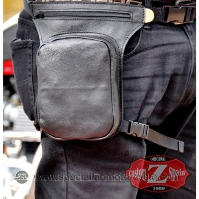 Borsello Moto da Gamba in Pelle Nero