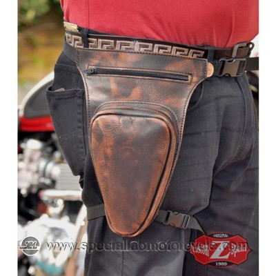 Borsello Moto da Gamba Revolver in Pelle Old Rat