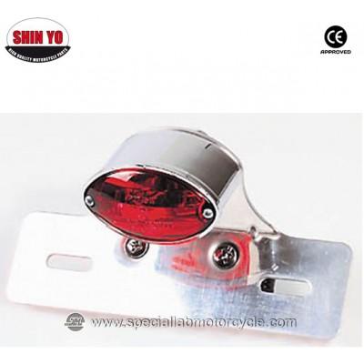 Fanalino Posteriore Micro Cateye con Portatarga Cromo