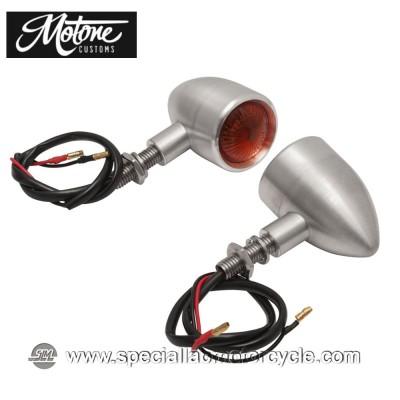Frecce Cafe Racer Alogene Motone Custom Bullet Style Alluminio Spazzolato