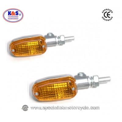 Frecce Cafe Racer Alogene Oblong K&S Alluminio Lucidato ECE