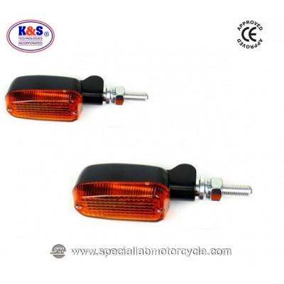 Frecce Cafe Racer Alogene Oblong K&S Alluminio Satinato Nero ECE