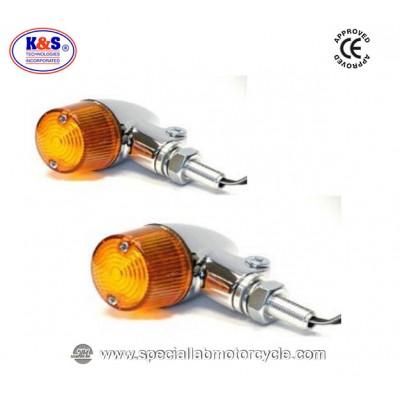 Frecce Cafe Racer Alogene Bullet K&S Alluminio Cromato ECE
