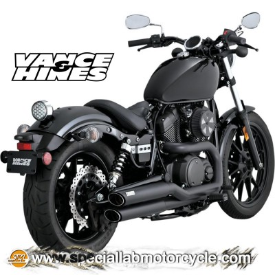 Impianto di scarico Vance&Hines Twin Slash Staggereds Black Matt Yamaha XV 950/R Bolt/Bolt 2014