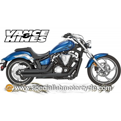 Impianto di scarico Vance&Hines Twin Slash Staggereds Black Matt Yamaha Stryker 2011-2014