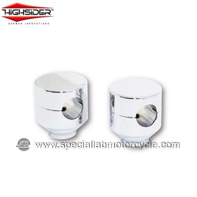 Highsider Coppia Riser Piston Diametro 25,4mm Rialzo 42mm Chrome