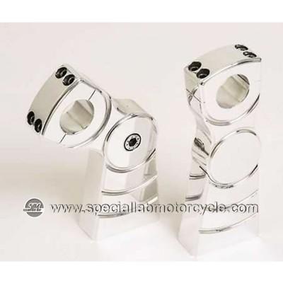 Coppia Riser Regolabili Diametro 25,4mm Rialzo 125mm Chrome